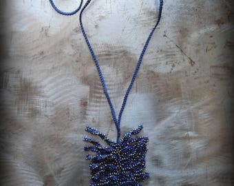 New, Beaded Fern Necklace, Crocheted Lace, Blue, Handmade, Thread, Nature, Unique, Bohemian, Original, Glass Beads, Encrusted, Monicaj