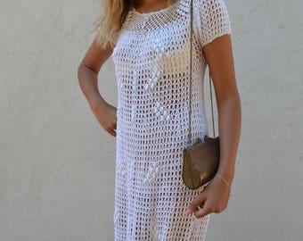 Vintage 70's crochet dress in white - wear as wedding dress - xs
