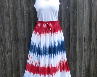 Long Rayon Skirt Tie-dyed in Red, White, and Blue