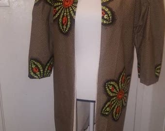 African fabric long knee length Jacket
