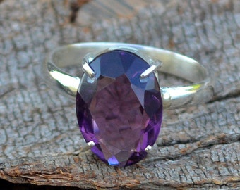 Amethyst Gemstone Ring -Purple Amethyst Ring -Purple Gemstone Ring -February Birthstone and 925 Sterling Silver Ring -Classic Gift For Her