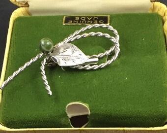 DeCurtis Sterling Silver & Jade Brooch Pin in original box.