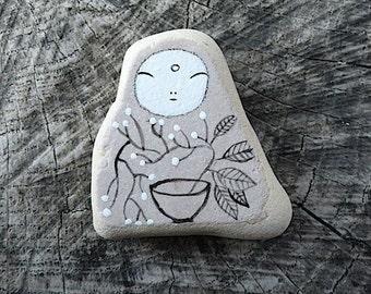 Beach Pottery Kanzeon Bodhisattva (Kuan Yin, The Bodhisattva of Compassion) with Ikebana