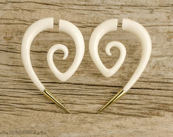 Fake Gauge Earrings Spiral Hornet with Golden Tip Gothic Tribal Style Buffalo White Bone Organic - FG078 BM G1