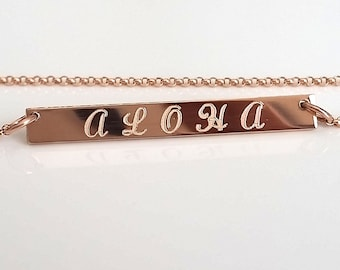 Rose Gold Nameplate Necklace - Personalized Bar Necklace - Custom Engraved - Gold, Silver, Bar - Custom Message - Dainty Nameplate Necklace