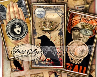 Domino Pendants / Victorian Goth images Digital Collage Sheet 1 x 2 inch Printable images Jewelry, Scrapbooking Backgrounds D214