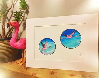 Roy Takes Flight watercolour illustration- Flamingo A4 Art Print
