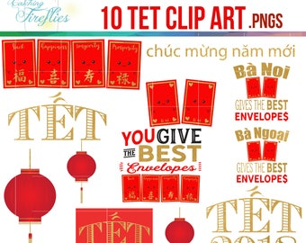 Tet Clip Art, Super Cute! 10 Fun Vietnamese New Year,10 PNGS, Red Envelopes,Asian New Year
