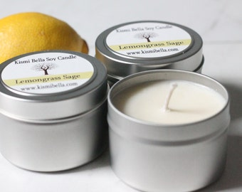 Soy Candle,Soy Wax, Lemongrass Scent, Tin Container,  For The Home, Candles, Travel Candle Wedding Favors, Bridal Shower Gifts