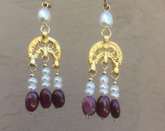 Ruby and Pearl Roman Byzantine earrings