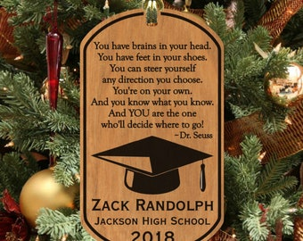 GRADUATION Wood Ornament Keepsake Gift, Personalized FREE w' NAME! Dr Seuss Quote Christmas Ornament