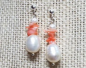 Natural Pearl Earrings Natural Branch Coral Earrings