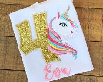 Unicorn Birthday Outfit - Unicorn Birthday Shirt - Unicorn Birthday Party - Girls Birthday Shirt