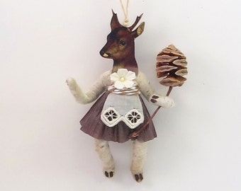 Vintage Inspired Spun Cotton Doe/Deer Girl Ornament (MADE TO ORDER)