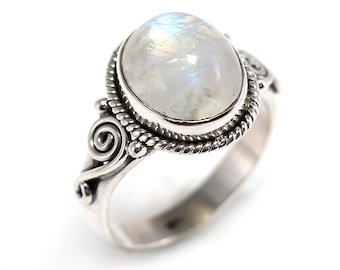 Rainbow moon 92.5 sterling silver ring size 7 us