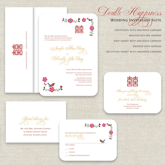 New Chinese Wedding Invitations Double Happiness Wedding QG67