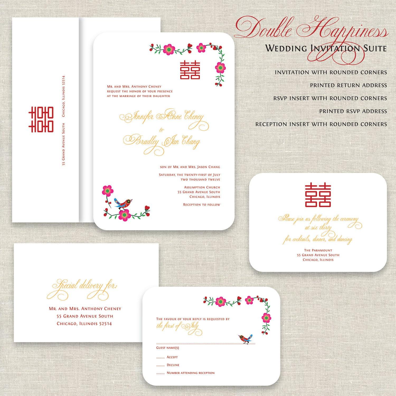 Chinese Wedding Invitations Double Happiness Wedding