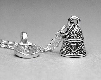 Thimble necklace, thimble charm, thimble jewelry, personalized jewelry, personalized necklace, initial necklace, initial charm, monogram