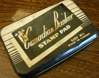 vintage office funk ...  tin case with STAMP PAD Canadian Banker metal  ...