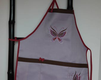 Apron adjustable cotton with pockets 8-12 years old girl embroidered and decorated