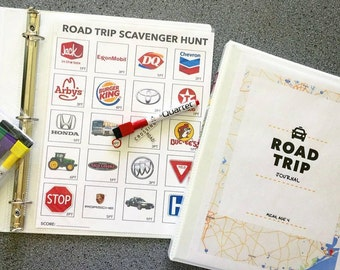 INSTANT DOWNLOAD: Road trip activities,  journal, scavenger hunt & map (3 pages)