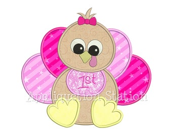 Baby Girl Turkey Applique Machine Embroidery Design Thanksgiving first 1st INSTANT DOWNLOAD