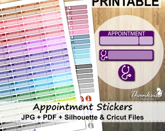 50% SALE, Appointment Printable Planner Stickers, Erin Condren Planner Stickers, Appointment Stickers, Printable Stickers - Cut Files