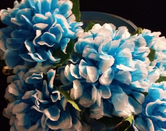 12 Crepe Paper Hydrangea Turquoise Flowers, Paper Flowers, Mexican Flowers, Mexican Decorations, Wedding Flowers, Birthday Party Decorations