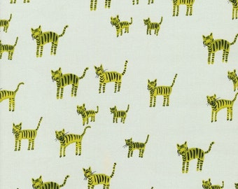 SALE - HATBOX by Alexia Abegg for Cotton + Steel - Tiger Stripes (Lime, 4001-004) - 1 Yard - Quilting Weight Cotton Fabric