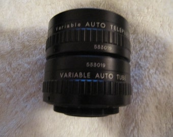 Vintage APS Variable Auto Teleplus w/matching Variable Auto Extension Tube  M42 Pentax Universal Screw Mount