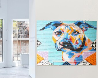 160cm x 100cm Huge Banksy Style Dog doggy Street  signed wall  Art Painting Urban Custom canvas Graffiti  by Pepe