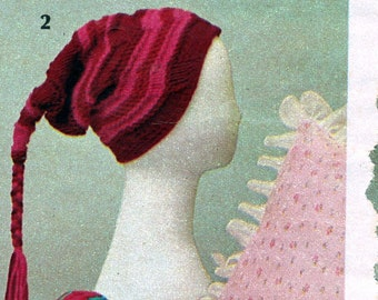 Knitting Pattern Pigtail Cap Instant Download
