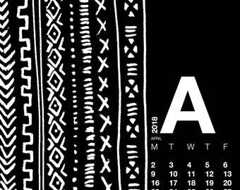 Mudcloth Collection. Desktop Calendar 2018 Wallpaper. Mudcloth stationery. African Mudcloth pattern. Mudcloth printable colletion.