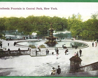 Vintage  Postcard -  People walking around The Bethesda Fountain in Central Park, New York City, New York  (3394)