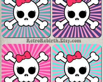 Cute Girly Skull and Bones Retro Drink Coaster Set - Great For Housewarming, Bar & Coffee Table Display - Set Of 4
