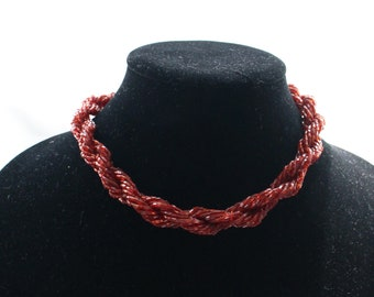 UNN # 66 Vintage Ruby Red Seed Bugle Bead Twist Necklace Choker