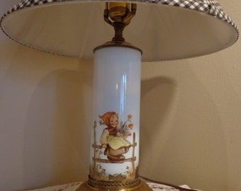 Hummel Lamp, Hummel Prints Under Cylinder Glass Table Lamp With Black Check  Lamp Shade,