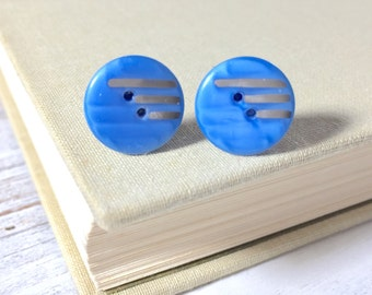 Cornflower Blue Glass Earrings, Button Stud Earrings From Antique Glass Sewing Buttons in Blue with Retro Silver Lines, Button Studs (SE6)