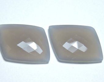 2 Pieces Matched Pair Gorgeous Natural Grey Chalcedony Faceted Fancy Shaped Loose Gemstone Size 30X25 MM