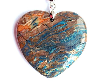 Fabulous sea sediment jasper heart pendant necklace, azur blues and rich browns on silver snake chain.