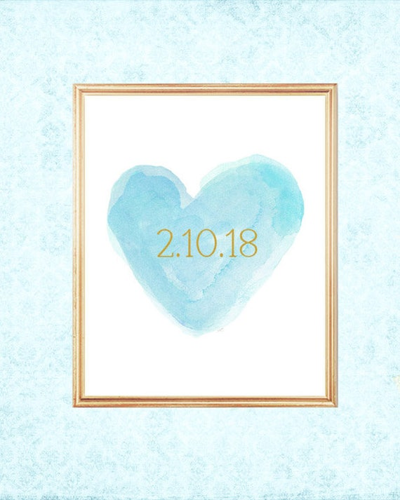 Aqua Bridal Shower Gift, 8x10 Personalized Print with Name and Wedding Date