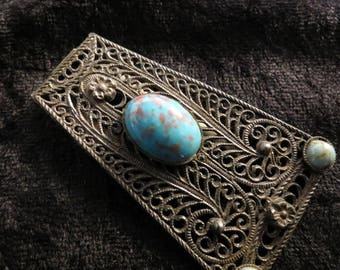 Stunning Wire Filigree GRAY KINGSBURG N.Y. Turquoise Art Glass Dress Clip