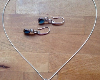 Navy blue bubble charm earring and necklace set