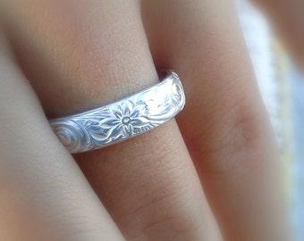 Bague en hawaïen, bijoux hawaïens, Alliance, bague fleur hawaïenne en argent large bande, anneau paire hawaïenne, 925 bague à la main, en argent massif