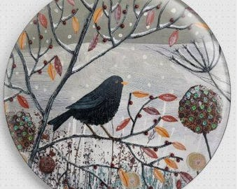 Bird Art, Needle Minder, Cross Stitch Accessory, Jo Grundy, Cross-Stitch Pin Keeper, Fridge Magnet, Snowfall, Stocking Filler, Pin Minder