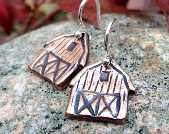 Copper Barn Earrings, Sterling Silver Ear Wires, Rustic Farm Jewelry, Gift for her, Equestrian Gift, Horse Lover Gift, Farmer, Agriculture