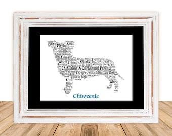 Chiweenie art, Chiweenie Custom, Personalize, Chiweenie Gift, Chiweenie Gifts Under 25, Dog Art, Pet Art, Pet Memorial, Custom Dog Art