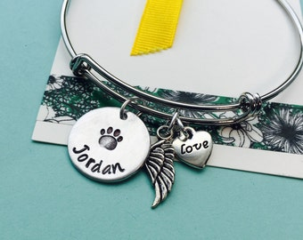 Rememberance Pet Bracelet / Silver Bracelet/ Pet Memorial Jewelry / Pet Remembrance Gift / Pet Loss / In Memory of Gift / Adjustable Bracele