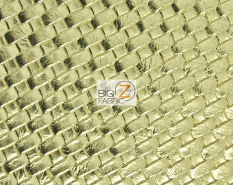 Lattice Basket Weave Upholstery Vinyl Fabric - GOLD - By The Yard Embossed PU Leather