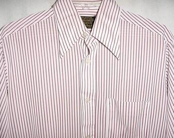Vintage 70s Mens Red White Striped Disco Shirt M 15 - 33 Slick Poly Knit